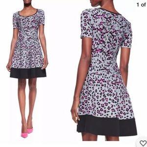 Kate Spade Cyber leopard print fit & form dress L